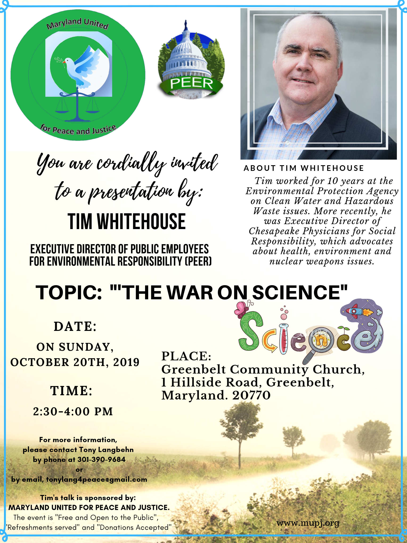 TIM WHITEHOUSE WILL SPEAK ABOUT 'THE WAR ON SCIENCE' ON SUNDAY, OCTOBER 20TH, 2019 at the Greenbelt Community Church.