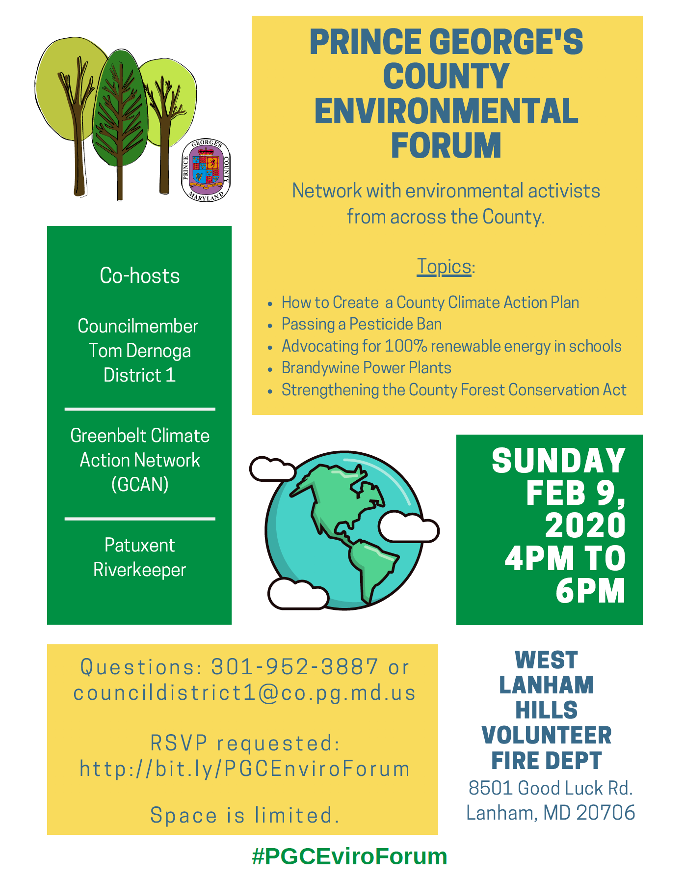 Sun Feb 9 – Join us for a Prince George's County Environmental Forum