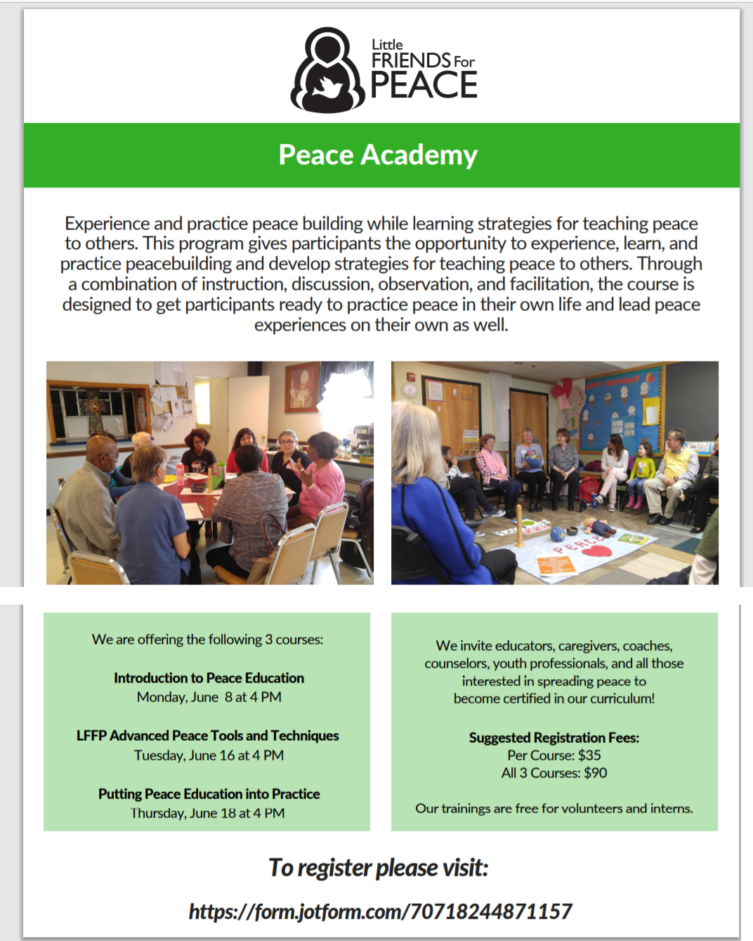 LFFP News – Peace Circles for Adults and young adults, Peace Academy, Virtual Peace Camp.